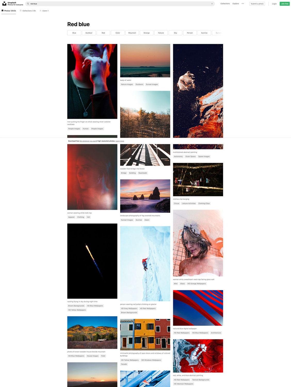 """Risultato della ricerca di fotografie con le parole """"Red Blue"""" sul sito di immagini gratuite Unsplash"""